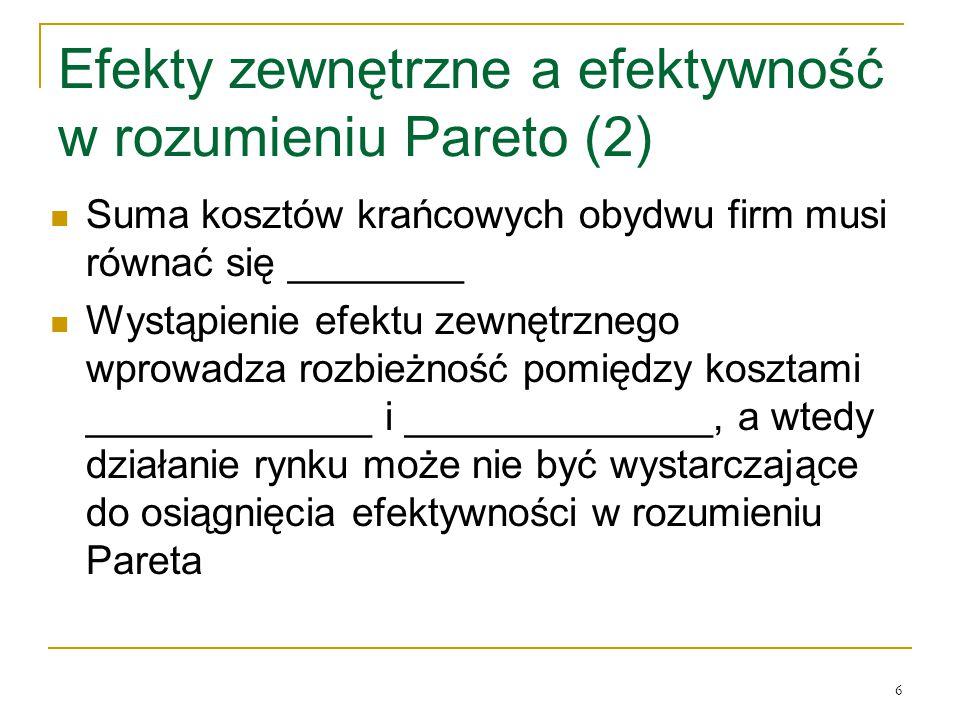 6 Efekty zewnętrzne a efektywność w rozumieniu Pareto (2) Suma kosztόw krańcowych obydwu firm musi rόwnać się ________ Wystąpienie efektu zewnętrznego