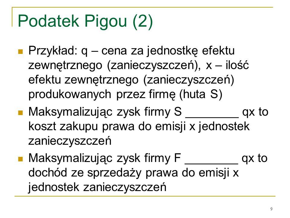 9 Podatek Pigou (2) Przykład: q – cena za jednostkę efektu zewnętrznego (zanieczyszczeń), x – ilość efektu zewnętrznego (zanieczyszczeń) produkowanych