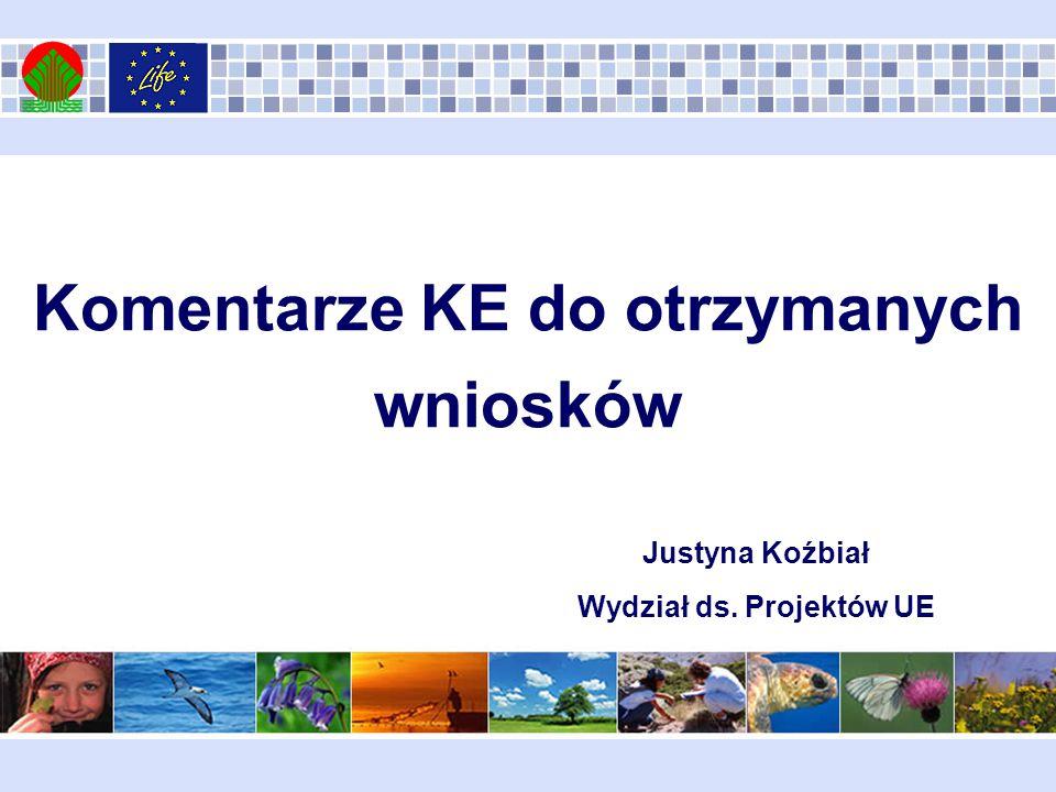 Komentarze KE do otrzymanych wniosków Justyna Koźbiał Wydział ds. Projektów UE