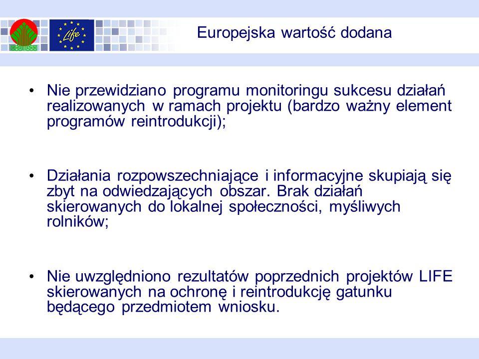 Europejska wartość dodana Nie przewidziano programu monitoringu sukcesu działań realizowanych w ramach projektu (bardzo ważny element programów reintrodukcji); Działania rozpowszechniające i informacyjne skupiają się zbyt na odwiedzających obszar.