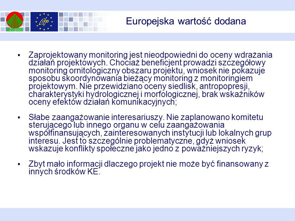Europejska wartość dodana Zaprojektowany monitoring jest nieodpowiedni do oceny wdrażania działań projektowych.