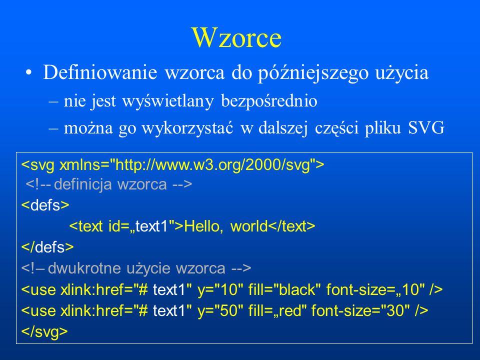 Wzorce Definiowanie wzorca do późniejszego użycia –nie jest wyświetlany bezpośrednio –można go wykorzystać w dalszej części pliku SVG Hello, world