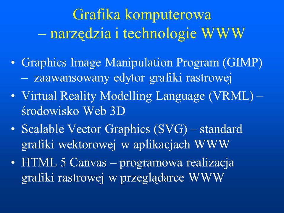Grafika komputerowa – narzędzia i technologie WWW Graphics Image Manipulation Program (GIMP) – zaawansowany edytor grafiki rastrowej Virtual Reality Modelling Language (VRML) – środowisko Web 3D Scalable Vector Graphics (SVG) – standard grafiki wektorowej w aplikacjach WWW HTML 5 Canvas – programowa realizacja grafiki rastrowej w przeglądarce WWW