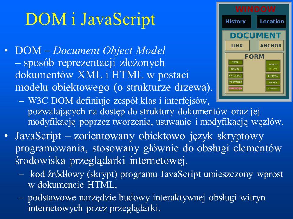 DOM i JavaScript DOM – Document Object Model – sposób reprezentacji złożonych dokumentów XML i HTML w postaci modelu obiektowego (o strukturze drzewa).