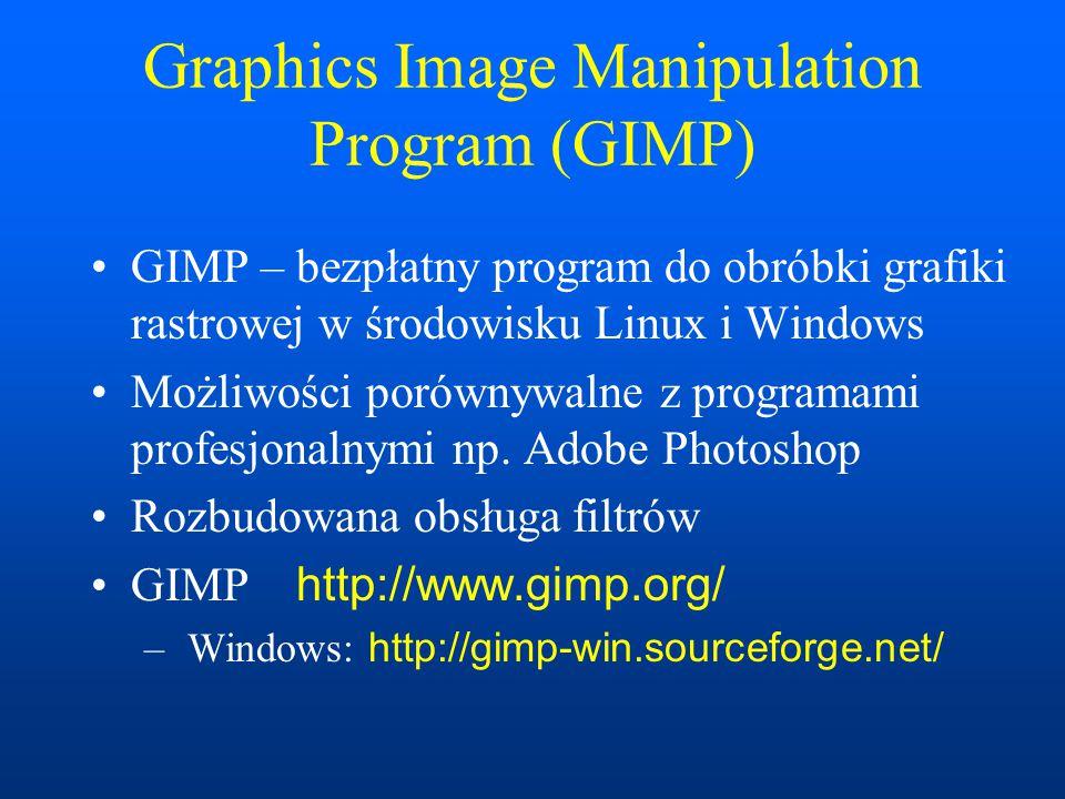 Virtual Reality Modelling Language (VRML) VRML – język do kreowania trójwymiarowych przestrzeni wirtualnych, analogiczny do HTML Obsługa w przeglądarkach za pomocą wtyczek np.Cortona, CosmoPlayer, Octaga (X3D) http://www.parallelgraphics.com/products/cortona/download/other/ http://www.cai.com/cosmo/ http://www.octaga.com/start/start.php?startpage=download_octaga Standardy: VRML 1.0, VRML 2.0, VRML 97, X3D Web3D consortium http://www.web3d.org/ Art of Illusion http://www.artofillusion.org/