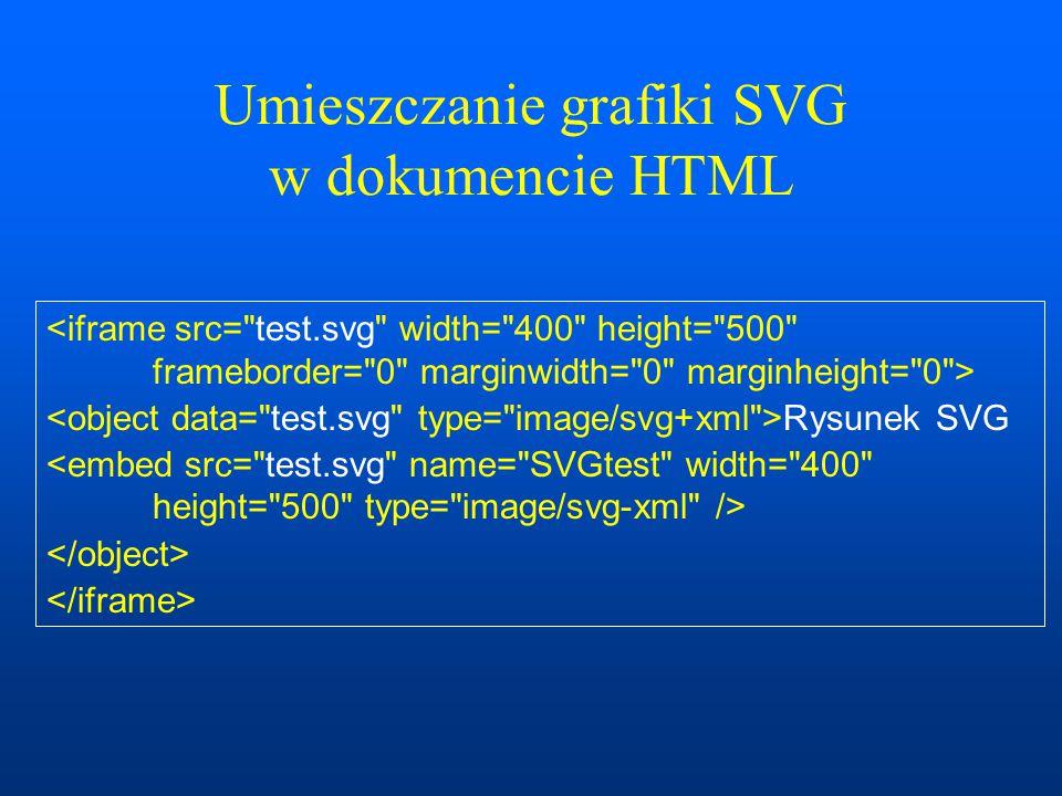 Przykłady operacji graficznych na elemencie Canvas Animacje – wykorzystanie funkcji DOM dotyczących czasu: –time.getSeconds(), –time.getMilliseconds(), Przykłady: http://www.ftj.agh.edu.pl/~gronek/