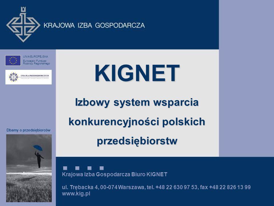 Krajowa Izba Gospodarcza Biuro KIGNET ul. Trębacka 4, 00-074 Warszawa, tel. +48 22 630 97 53, fax +48 22 826 13 99 www.kig.pl UNIA EUROPEJSKA Europejs