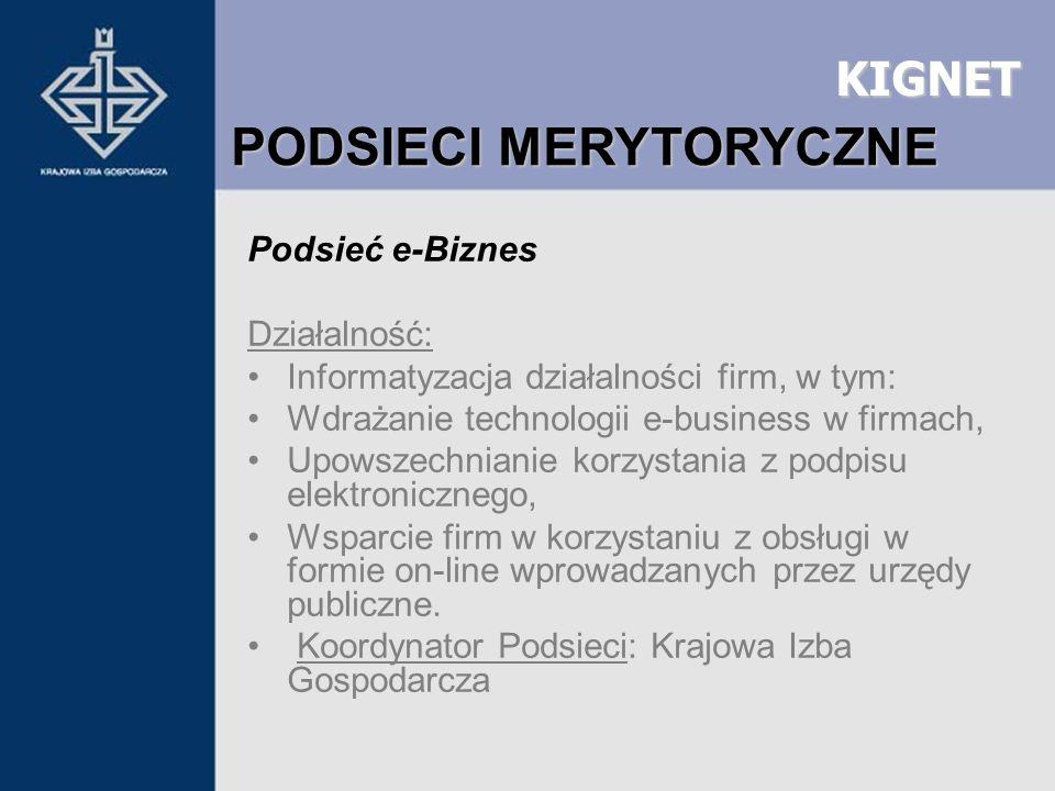 KIGNET Podsieć e-Biznes Działalność: Informatyzacja działalności firm, w tym: Wdrażanie technologii e-business w firmach, Upowszechnianie korzystania