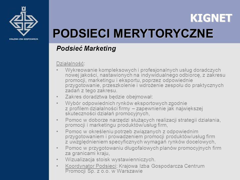 KIGNET Podsieć Marketing Działalność: Wykreowanie kompleksowych i profesjonalnych usług doradczych nowej jakości, nastawionych na indywidualnego odbio