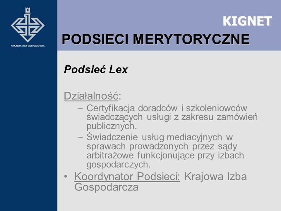 KIGNET Podsieć Lex Działalność: –Certyfikacja doradców i szkoleniowców świadczących usługi z zakresu zamówień publicznych. –Świadczenie usług mediacyj