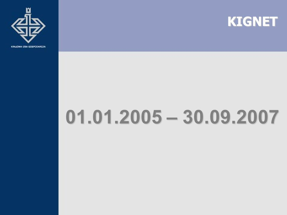 KIGNET 01.01.2005 – 30.09.2007