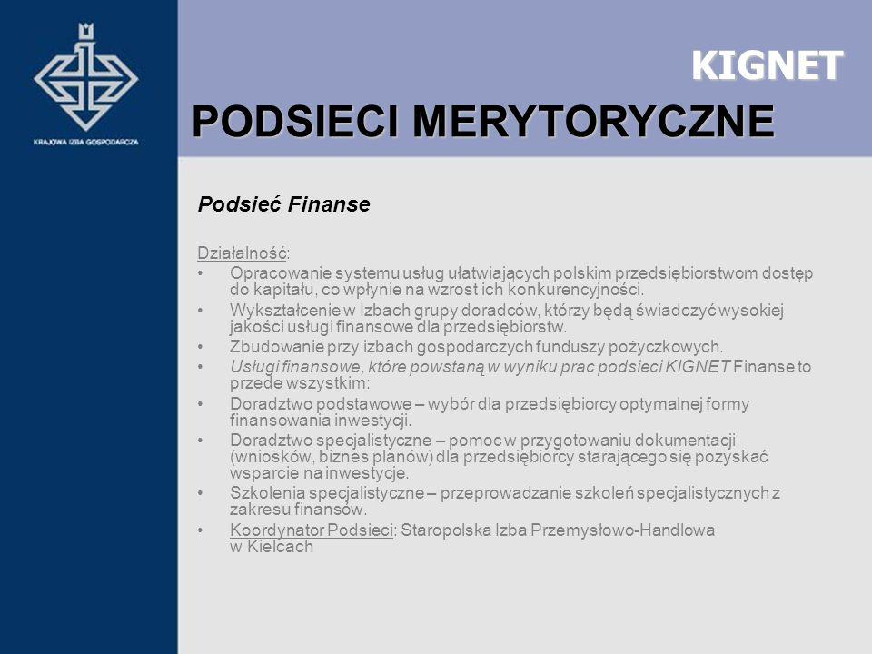 KIGNET Podsieć Finanse Działalność: Opracowanie systemu usług ułatwiających polskim przedsiębiorstwom dostęp do kapitału, co wpłynie na wzrost ich kon