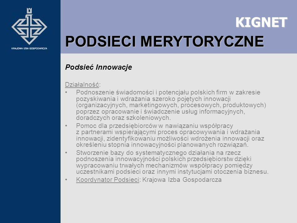 KIGNET Podsieć Innowacje Działalność: Podnoszenie świadomości i potencjału polskich firm w zakresie pozyskiwania i wdrażania szeroko pojętych innowacj