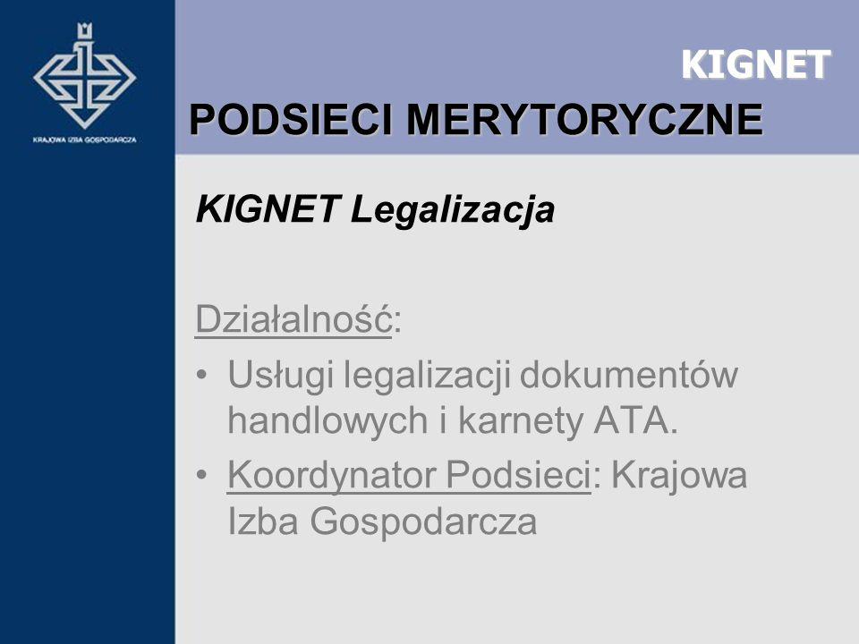 KIGNET KIGNET Legalizacja Działalność: Usługi legalizacji dokumentów handlowych i karnety ATA. Koordynator Podsieci: Krajowa Izba Gospodarcza PODSIECI