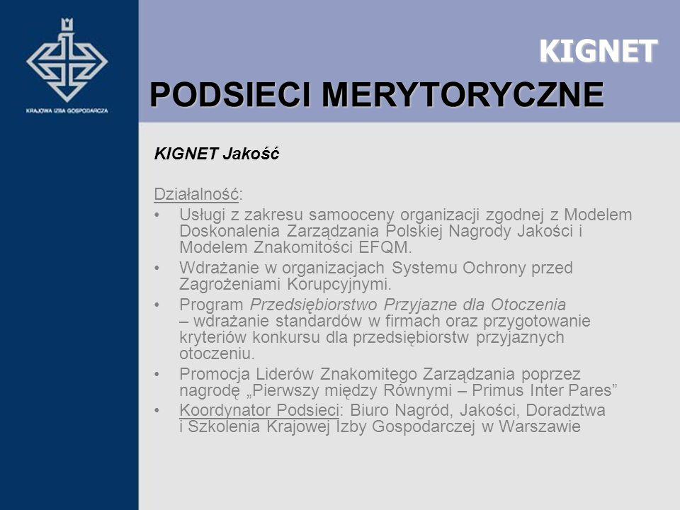 KIGNET KIGNET Jakość Działalność: Usługi z zakresu samooceny organizacji zgodnej z Modelem Doskonalenia Zarządzania Polskiej Nagrody Jakości i Modelem