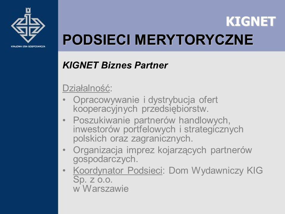 KIGNET KIGNET Biznes Partner Działalność: Opracowywanie i dystrybucja ofert kooperacyjnych przedsiębiorstw. Poszukiwanie partnerów handlowych, inwesto