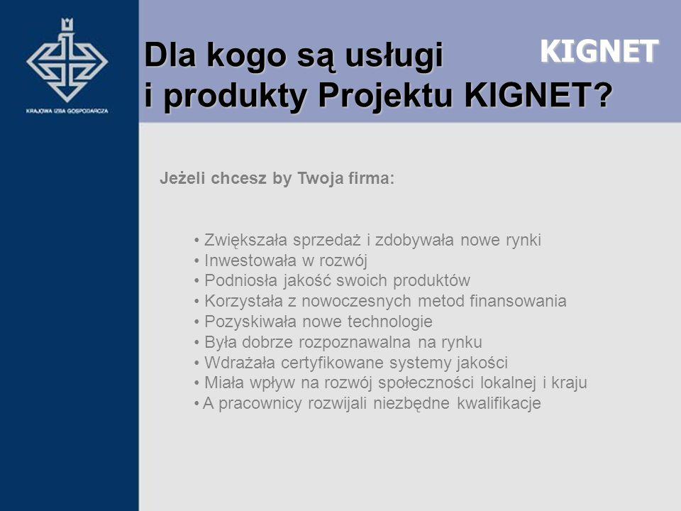 KIGNET Dla kogo są usługi i produkty Projektu KIGNET? Jeżeli chcesz by Twoja firma: Zwiększała sprzedaż i zdobywała nowe rynki Inwestowała w rozwój Po