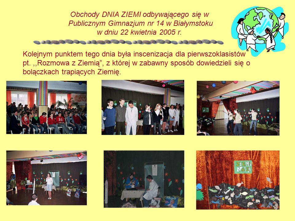 Obchody tego dnia zakończyły zmagania uczestników konkursu informatyczno-ekologicznego na prezentację multimedialną na jeden z wybranych tematów: Źródła zanieczyszczeń środowiska naturalnego.