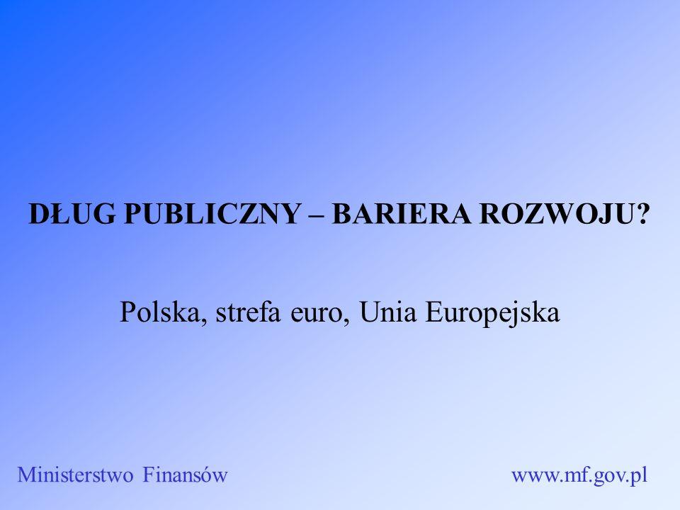 DŁUG PUBLICZNY – BARIERA ROZWOJU? Polska, strefa euro, Unia Europejska Ministerstwo Finansów www.mf.gov.pl