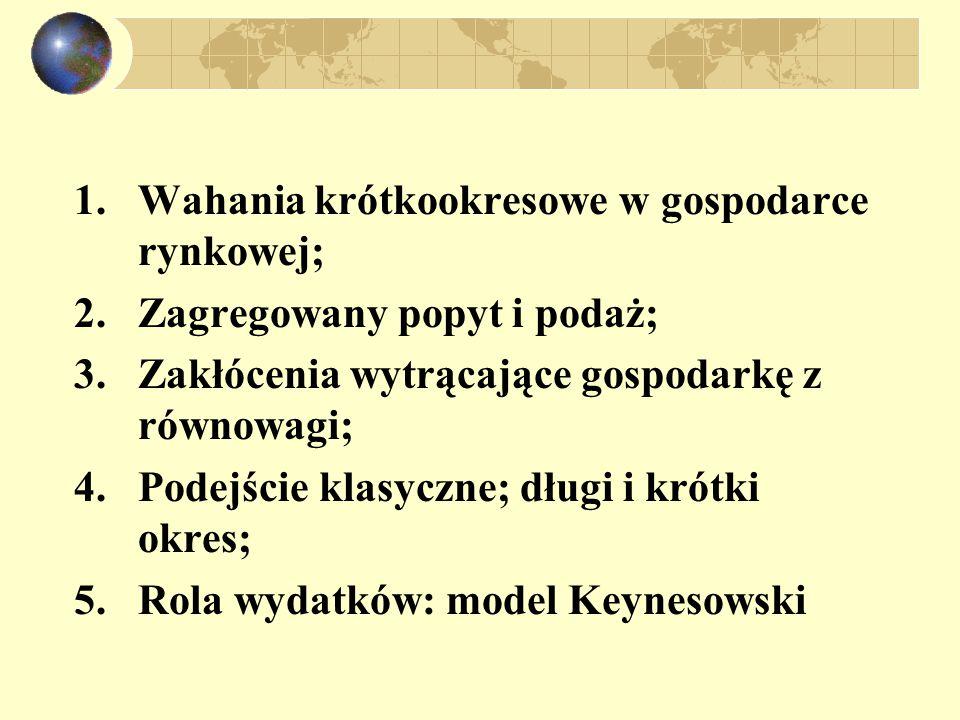 1.Wahania krótkookresowe w gospodarce rynkowej; 2.Zagregowany popyt i podaż; 3.Zakłócenia wytrącające gospodarkę z równowagi; 4.Podejście klasyczne; długi i krótki okres; 5.Rola wydatków: model Keynesowski
