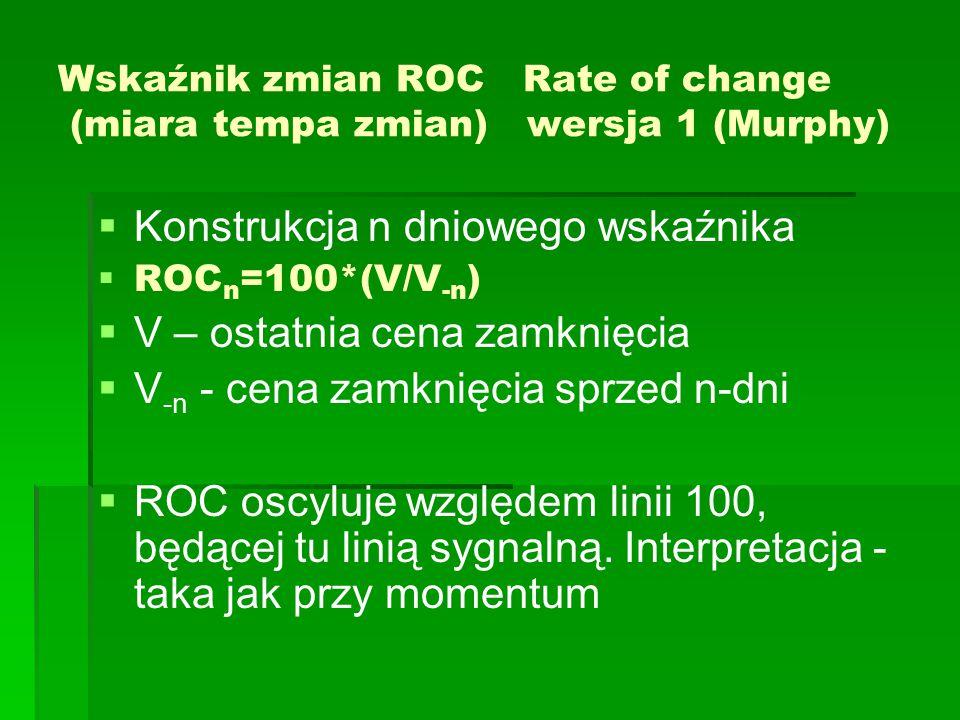 Wskaźnik zmian ROC Rate of change (miara tempa zmian) wersja 1 (Murphy)   Konstrukcja n dniowego wskaźnika   ROC n =100*(V/V -n )   V – ostatnia