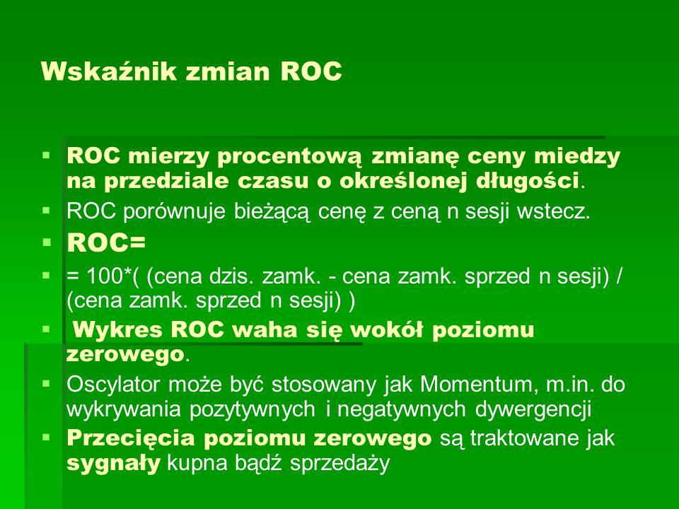 Wskaźnik zmian ROC   ROC mierzy procentową zmianę ceny miedzy na przedziale czasu o określonej długości.   ROC porównuje bieżącą cenę z ceną n ses