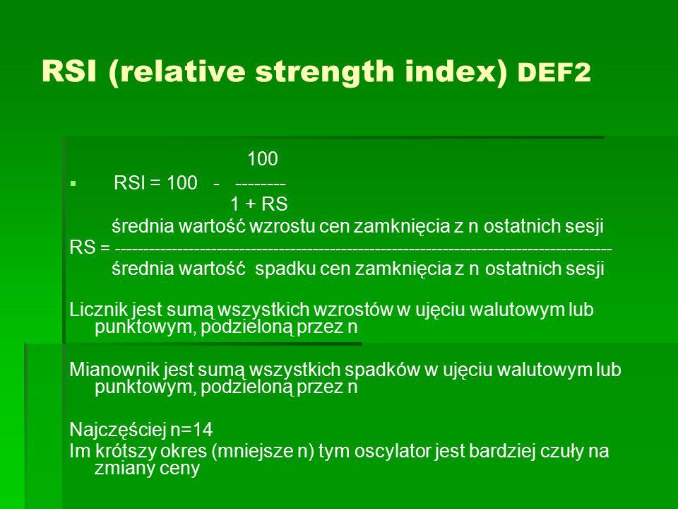 RSI (relative strength index) DEF2 100   RSI = 100 - -------- 1 + RS średnia wartość wzrostu cen zamknięcia z n ostatnich sesji RS = ---------------
