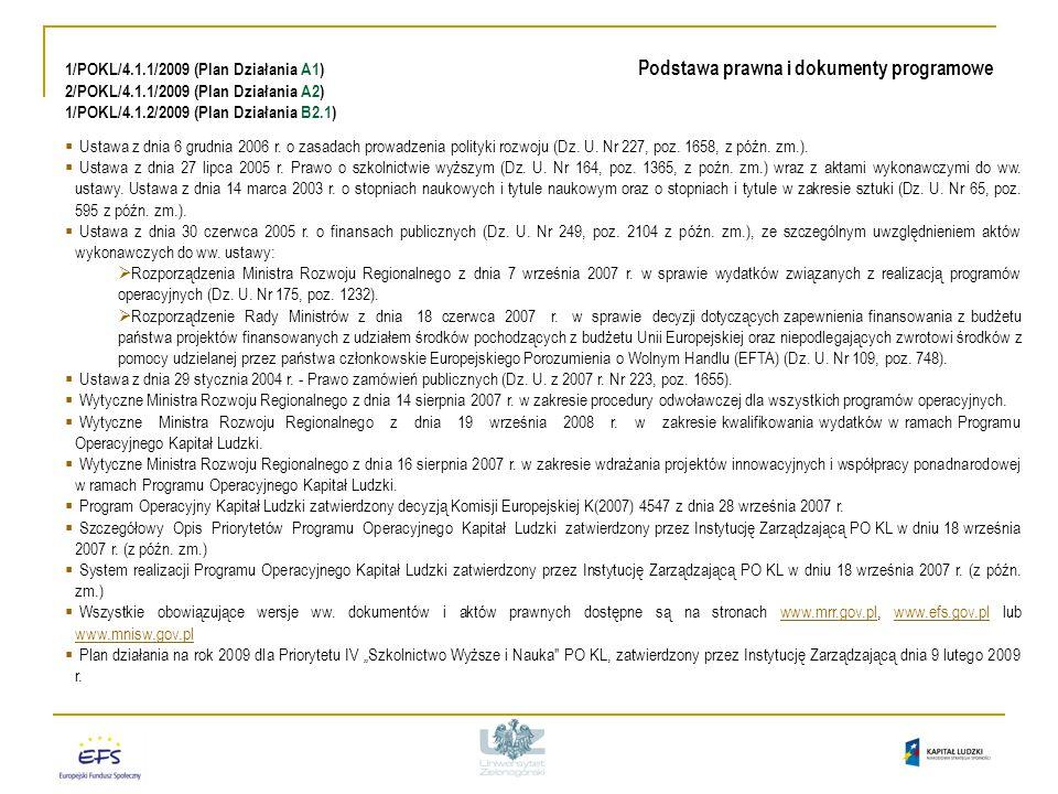 1/POKL/4.1.1/2009 (Plan Działania A1) Podstawa prawna i dokumenty programowe 2/POKL/4.1.1/2009 (Plan Działania A2) 1/POKL/4.1.2/2009 (Plan Działania B2.1)  Ustawa z dnia 6 grudnia 2006 r.