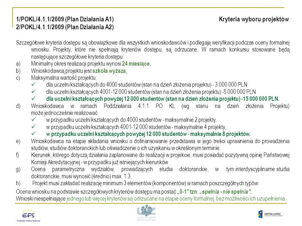 1/POKL/4.1.1/2009 (Plan Działania A1) Kryteria wyboru projektów 2/POKL/4.1.1/2009 (Plan Działania A2) Szczegółowe kryteria dostępu są obowiązkowe dla wszystkich wnioskodawców i podlegają weryfikacji podczas oceny formalnej wniosku.