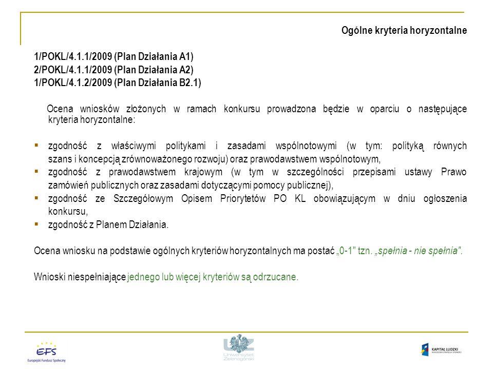 Ogólne kryteria horyzontalne 1/POKL/4.1.1/2009 (Plan Działania A1) 2/POKL/4.1.1/2009 (Plan Działania A2) 1/POKL/4.1.2/2009 (Plan Działania B2.1) Ocena wniosków złożonych w ramach konkursu prowadzona będzie w oparciu o następujące kryteria horyzontalne:  zgodność z właściwymi politykami i zasadami wspólnotowymi (w tym: polityką równych szans i koncepcją zrównoważonego rozwoju) oraz prawodawstwem wspólnotowym,  zgodność z prawodawstwem krajowym (w tym w szczególności przepisami ustawy Prawo zamówień publicznych oraz zasadami dotyczącymi pomocy publicznej),  zgodność ze Szczegółowym Opisem Priorytetów PO KL obowiązującym w dniu ogłoszenia konkursu,  zgodność z Planem Działania.