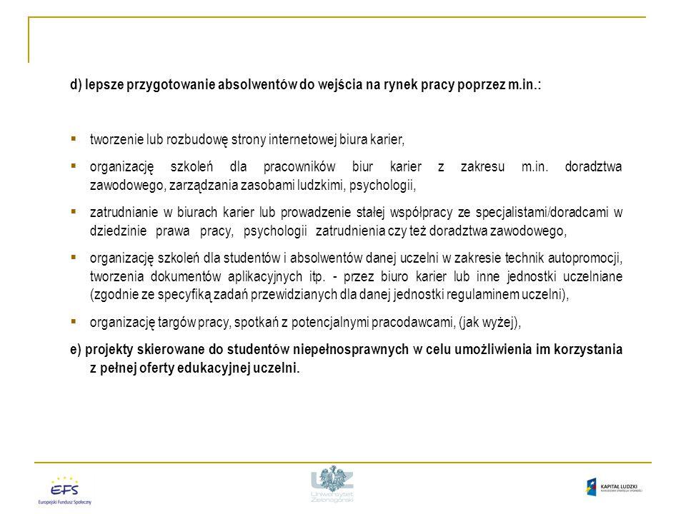 W ramach Konkursu zamkniętego 1/POKL/4.1.1/2009 (Plan Działania A1) 2/POKL/4.1.1/2009 (Plan Działania A2) Programy rozwojowe uczelni muszą obejmować minimum 3 spośród wyżej wymienionych typów projektów i muszą stanowić zespół wzajemnie uzupełniających się działań, a także wypływać z realnych potrzeb oraz wizji rozwoju uczelni, z uwzględnieniem wymogów gospodarki opartej na wiedzy i rynku pracy.