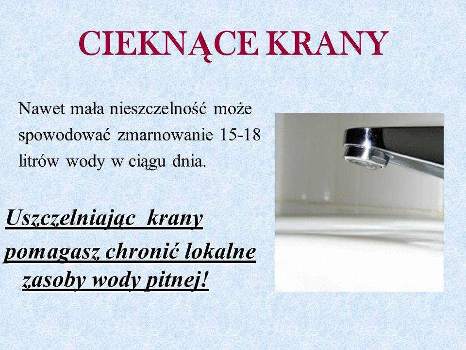 CIEKN Ą CE KRANY Nawet mała nieszczelność może spowodować zmarnowanie 15-18 litrów wody w ciągu dnia.