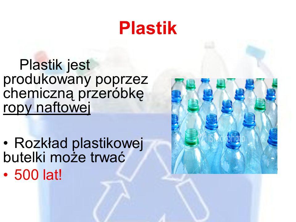 Plastik Plastik jest produkowany poprzez chemiczną przeróbkę ropy naftowej Rozkład plastikowej butelki może trwać 500 lat!