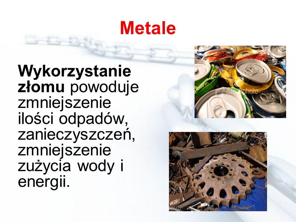 Metale Wykorzystanie złomu powoduje zmniejszenie ilości odpadów, zanieczyszczeń, zmniejszenie zużycia wody i energii.