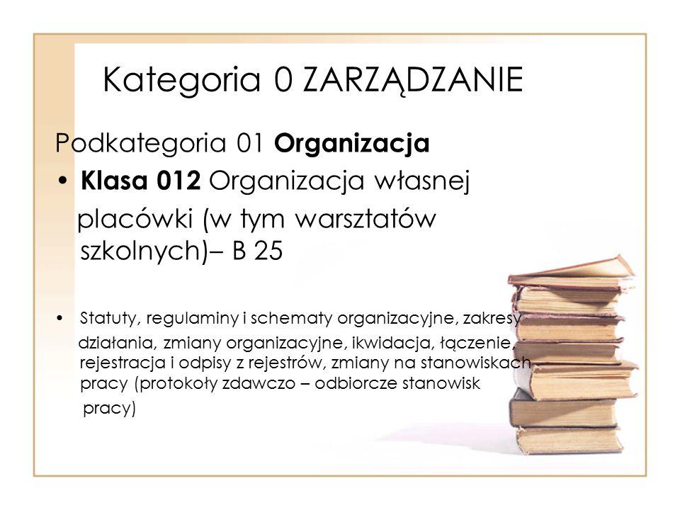 Kategoria 0 ZARZĄDZANIE Podkategoria 01 Organizacja Klasa 012 Organizacja własnej placówki (w tym warsztatów szkolnych)– B 25 Statuty, regulaminy i sc