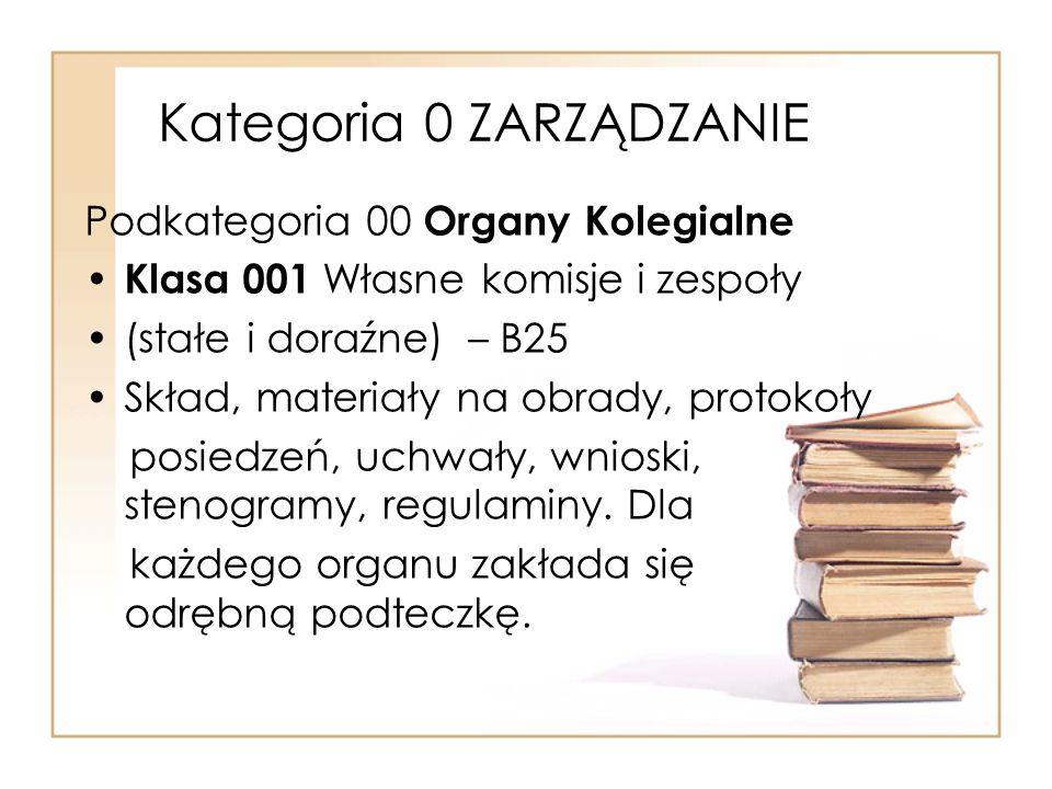 Kategoria 0 ZARZĄDZANIE Podkategoria 00 Organy Kolegialne Klasa 001 Własne komisje i zespoły (stałe i doraźne) – B25 Skład, materiały na obrady, proto