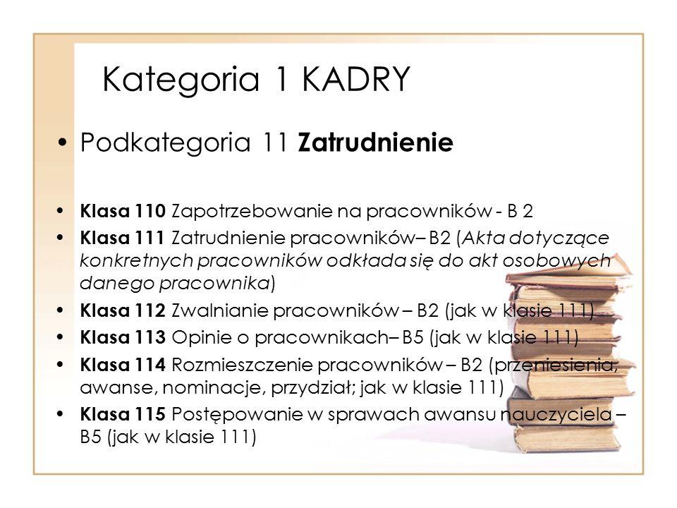 Kategoria 1 KADRY Podkategoria 11 Zatrudnienie Klasa 110 Zapotrzebowanie na pracowników - B 2 Klasa 111 Zatrudnienie pracowników– B2 (Akta dotyczące k