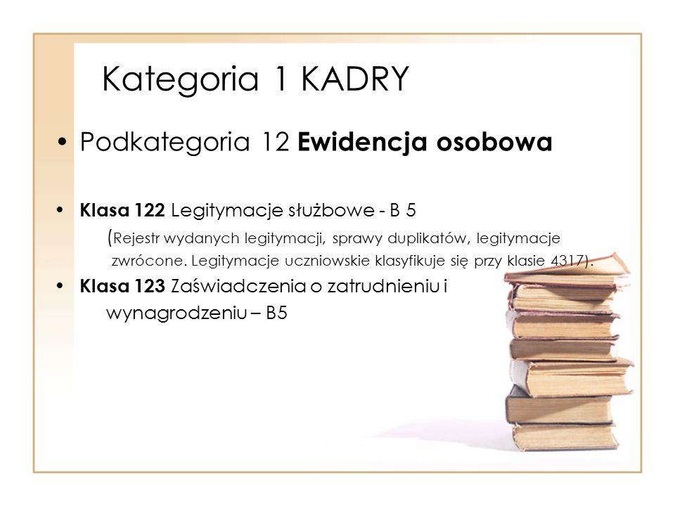 Kategoria 1 KADRY Podkategoria 12 Ewidencja osobowa Klasa 122 Legitymacje służbowe - B 5 ( Rejestr wydanych legitymacji, sprawy duplikatów, legitymacj