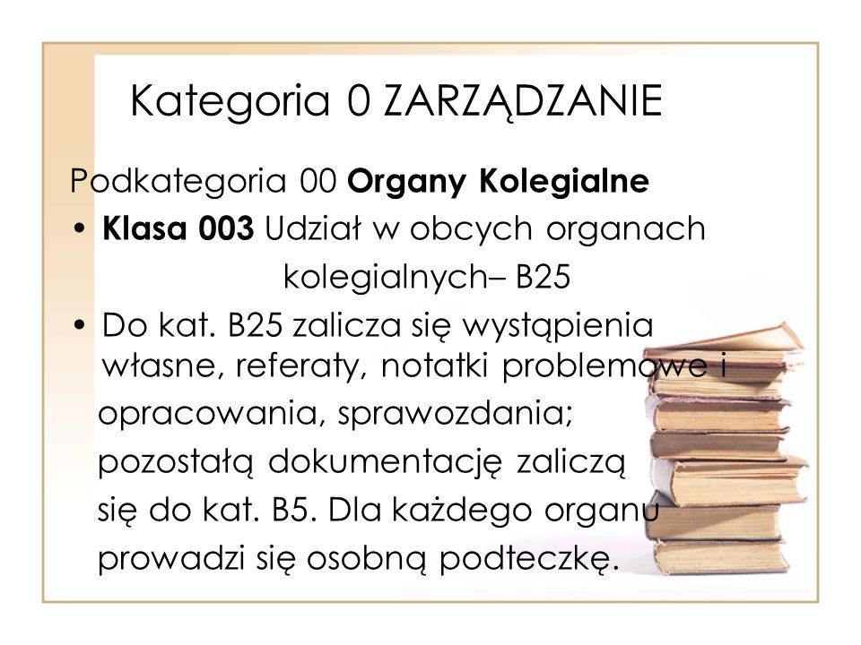 Kategoria 0 ZARZĄDZANIE Podkategoria 00 Organy Kolegialne Klasa 003 Udział w obcych organach kolegialnych– B25 Do kat. B25 zalicza się wystąpienia wła