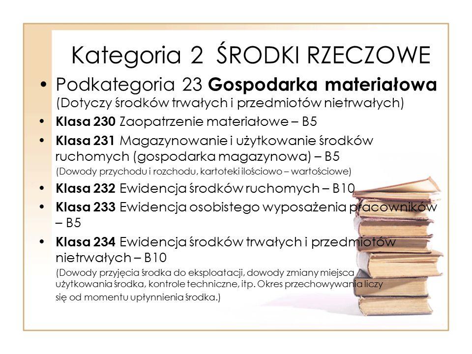 Kategoria 2 ŚRODKI RZECZOWE Podkategoria 23 Gospodarka materiałowa (Dotyczy środków trwałych i przedmiotów nietrwałych) Klasa 230 Zaopatrzenie materia