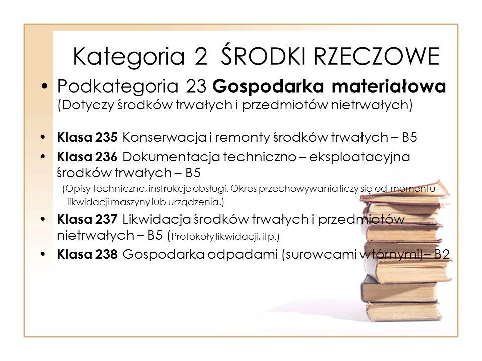 Kategoria 2 ŚRODKI RZECZOWE Podkategoria 23 Gospodarka materiałowa (Dotyczy środków trwałych i przedmiotów nietrwałych) Klasa 235 Konserwacja i remont