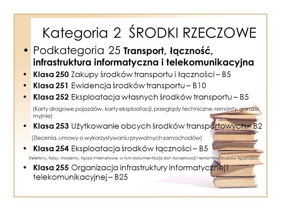 Kategoria 2 ŚRODKI RZECZOWE Podkategoria 25 Transport, łączność, infrastruktura informatyczna i telekomunikacyjna Klasa 250 Zakupy środków transportu