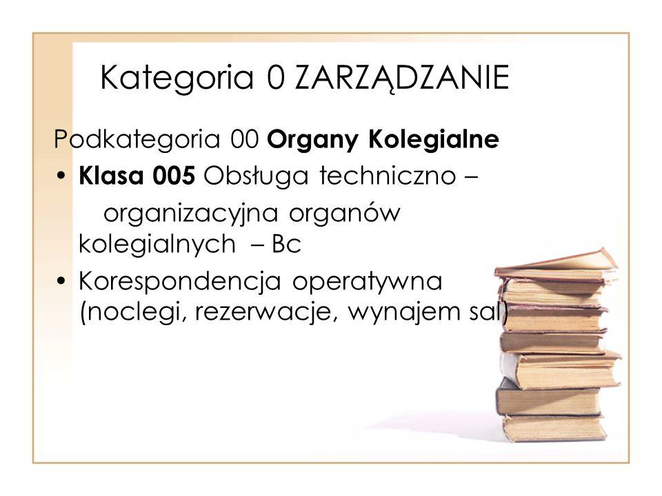 Kategoria 0 ZARZĄDZANIE Podkategoria 00 Organy Kolegialne Klasa 005 Obsługa techniczno – organizacyjna organów kolegialnych – Bc Korespondencja operat