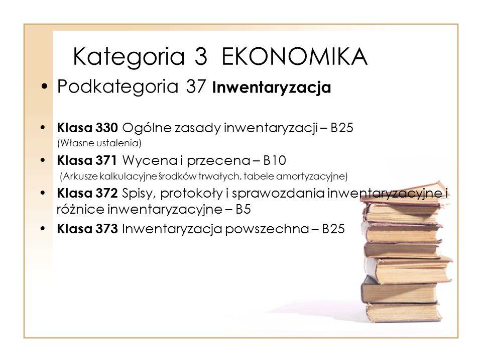 Kategoria 3 EKONOMIKA Podkategoria 37 Inwentaryzacja Klasa 330 Ogólne zasady inwentaryzacji – B25 (Własne ustalenia) Klasa 371 Wycena i przecena – B10