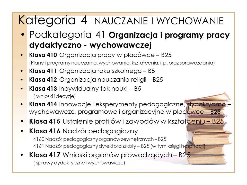 Kategoria 4 NAUCZANIE I WYCHOWANIE Podkategoria 41 Organizacja i programy pracy dydaktyczno - wychowawczej Klasa 410 Organizacja pracy w placówce – B2