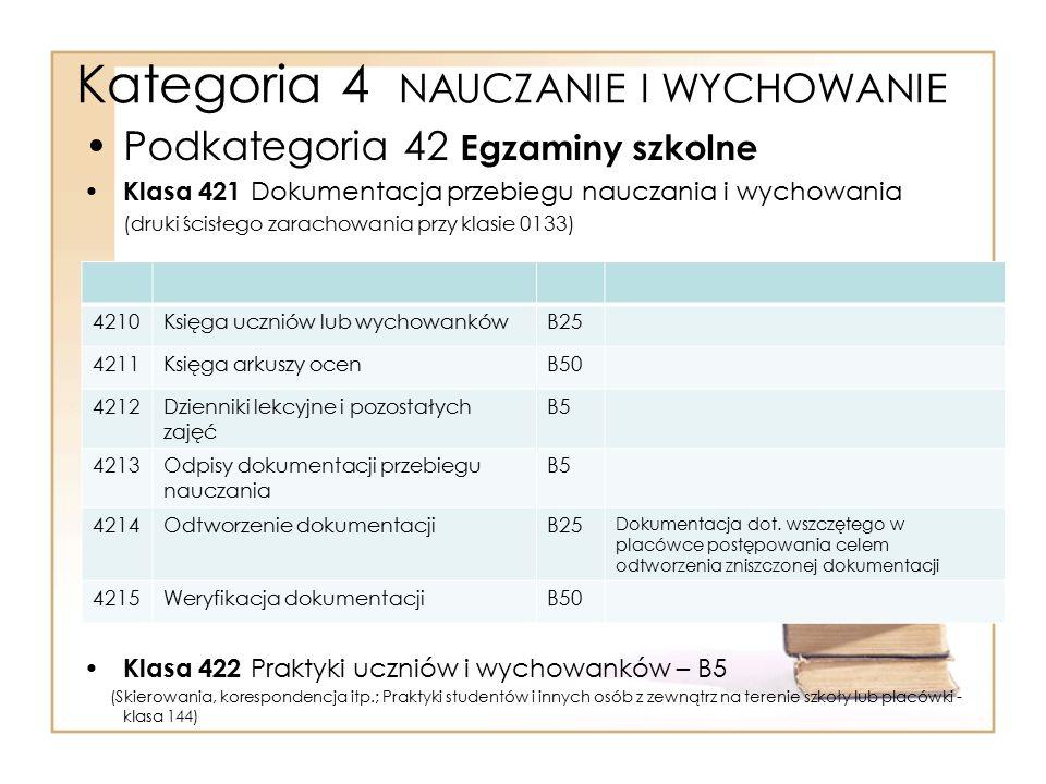 Kategoria 4 NAUCZANIE I WYCHOWANIE Podkategoria 42 Egzaminy szkolne Klasa 421 Dokumentacja przebiegu nauczania i wychowania (druki ścisłego zarachowan