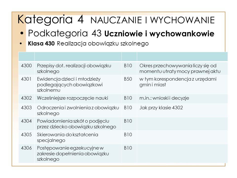 Kategoria 4 NAUCZANIE I WYCHOWANIE Podkategoria 43 Uczniowie i wychowankowie Klasa 430 Realizacja obowiązku szkolnego 4300Przepisy dot. realizacji obo