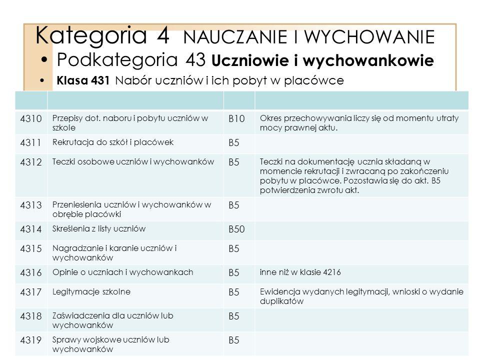 Kategoria 4 NAUCZANIE I WYCHOWANIE Podkategoria 43 Uczniowie i wychowankowie Klasa 431 Nabór uczniów i ich pobyt w placówce 4310 Przepisy dot. naboru