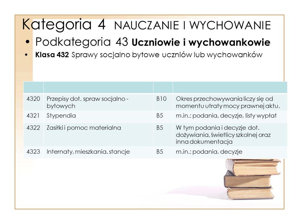 Kategoria 4 NAUCZANIE I WYCHOWANIE Podkategoria 43 Uczniowie i wychowankowie Klasa 432 Sprawy socjalno bytowe uczniów lub wychowanków 4320Przepisy dot