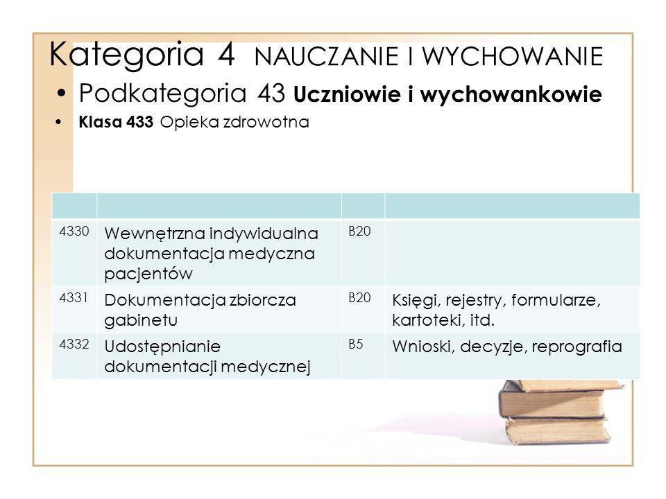 Kategoria 4 NAUCZANIE I WYCHOWANIE Podkategoria 43 Uczniowie i wychowankowie Klasa 433 Opieka zdrowotna 4330 Wewnętrzna indywidualna dokumentacja medy